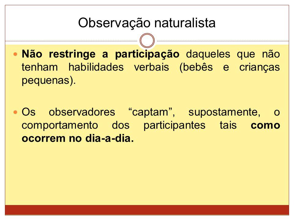 Observação naturalista Não restringe a participação daqueles que não tenham habilidades verbais (bebês e crianças pequenas). Os observadores captam, s
