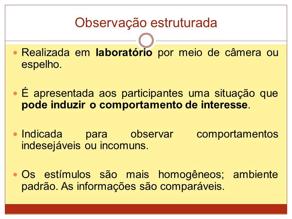 Observação estruturada Realizada em laboratório por meio de câmera ou espelho. É apresentada aos participantes uma situação que pode induzir o comport