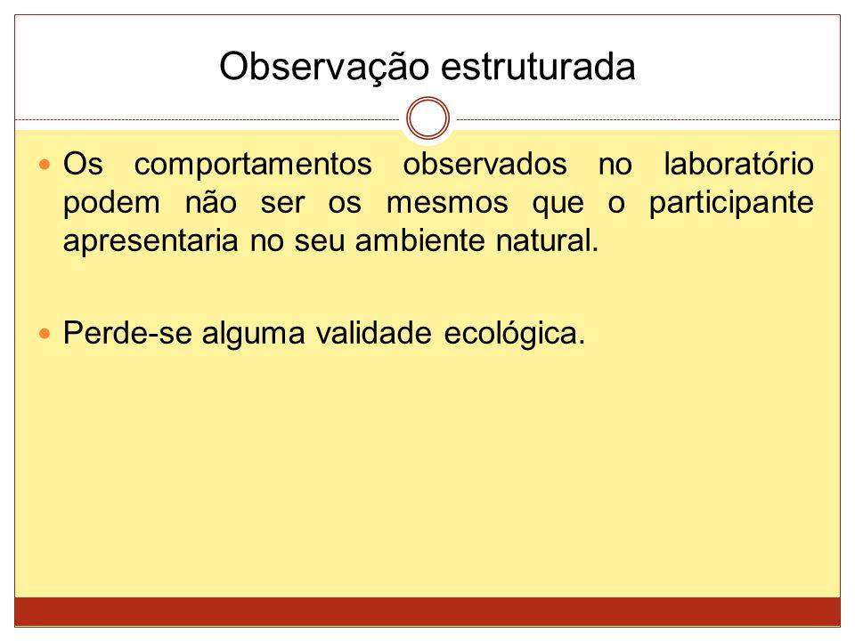 Observação estruturada Os comportamentos observados no laboratório podem não ser os mesmos que o participante apresentaria no seu ambiente natural. Pe