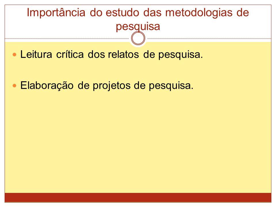 Importância do estudo das metodologias de pesquisa Leitura crítica dos relatos de pesquisa.
