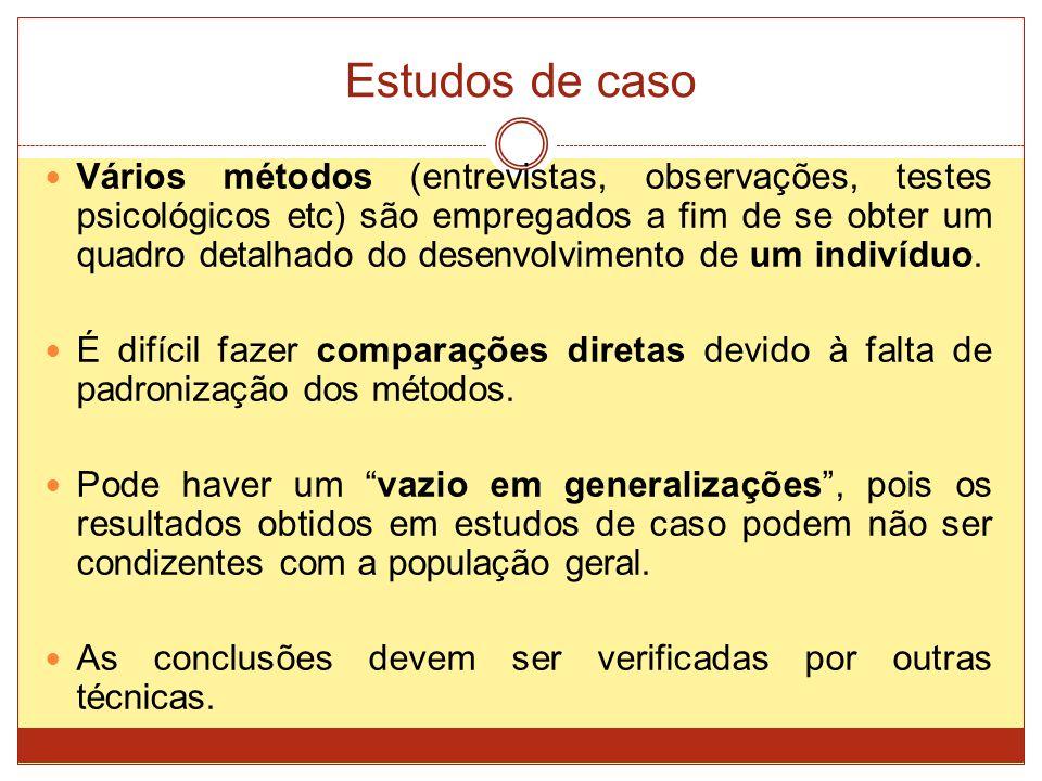 Estudos de caso Vários métodos (entrevistas, observações, testes psicológicos etc) são empregados a fim de se obter um quadro detalhado do desenvolvimento de um indivíduo.