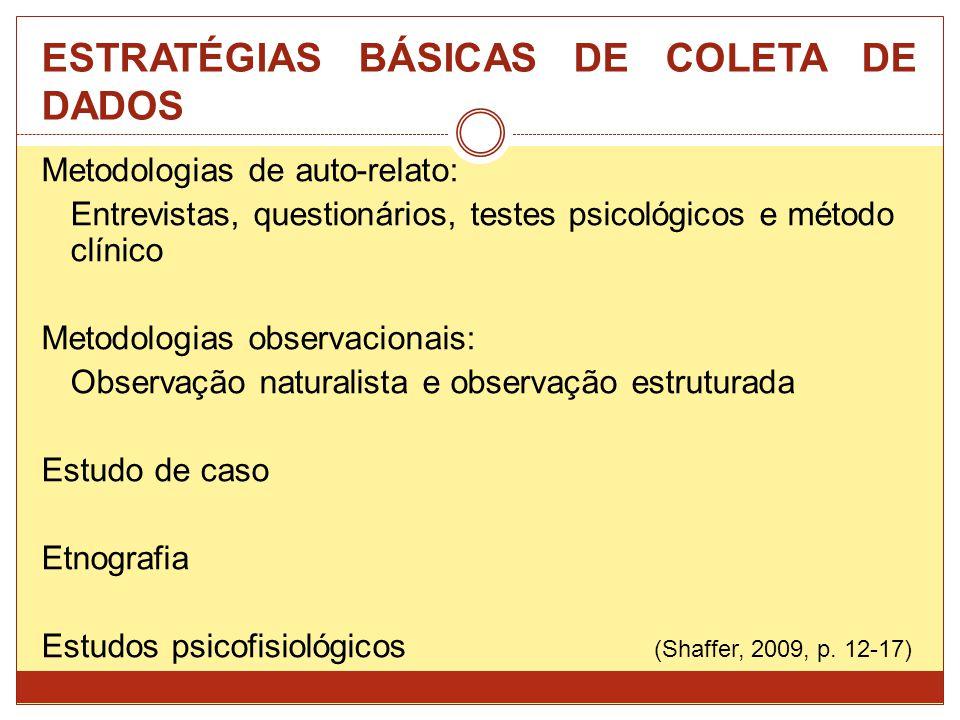 ESTRATÉGIAS BÁSICAS DE COLETA DE DADOS Metodologias de auto-relato: Entrevistas, questionários, testes psicológicos e método clínico Metodologias obse