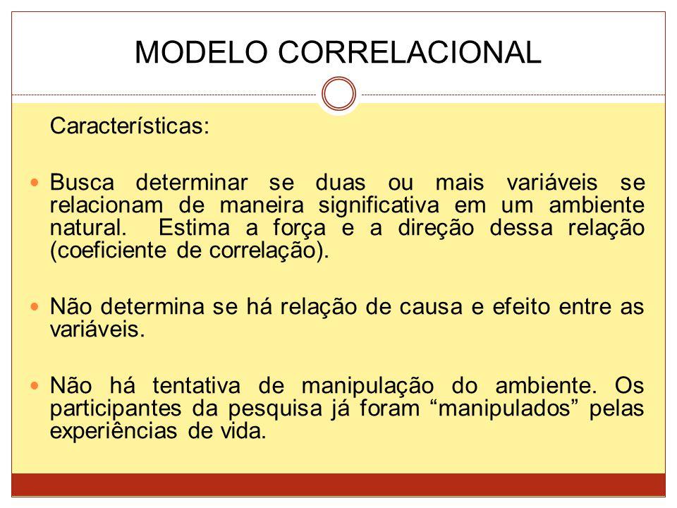 MODELO CORRELACIONAL Características: Busca determinar se duas ou mais variáveis se relacionam de maneira significativa em um ambiente natural. Estima