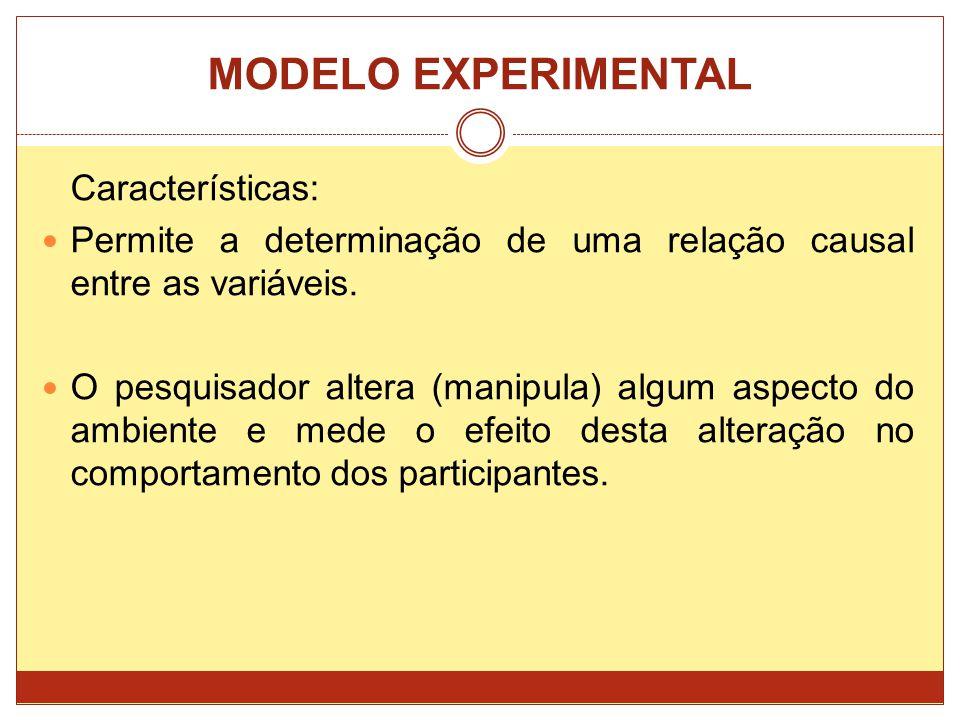 MODELO EXPERIMENTAL Características: Permite a determinação de uma relação causal entre as variáveis. O pesquisador altera (manipula) algum aspecto do