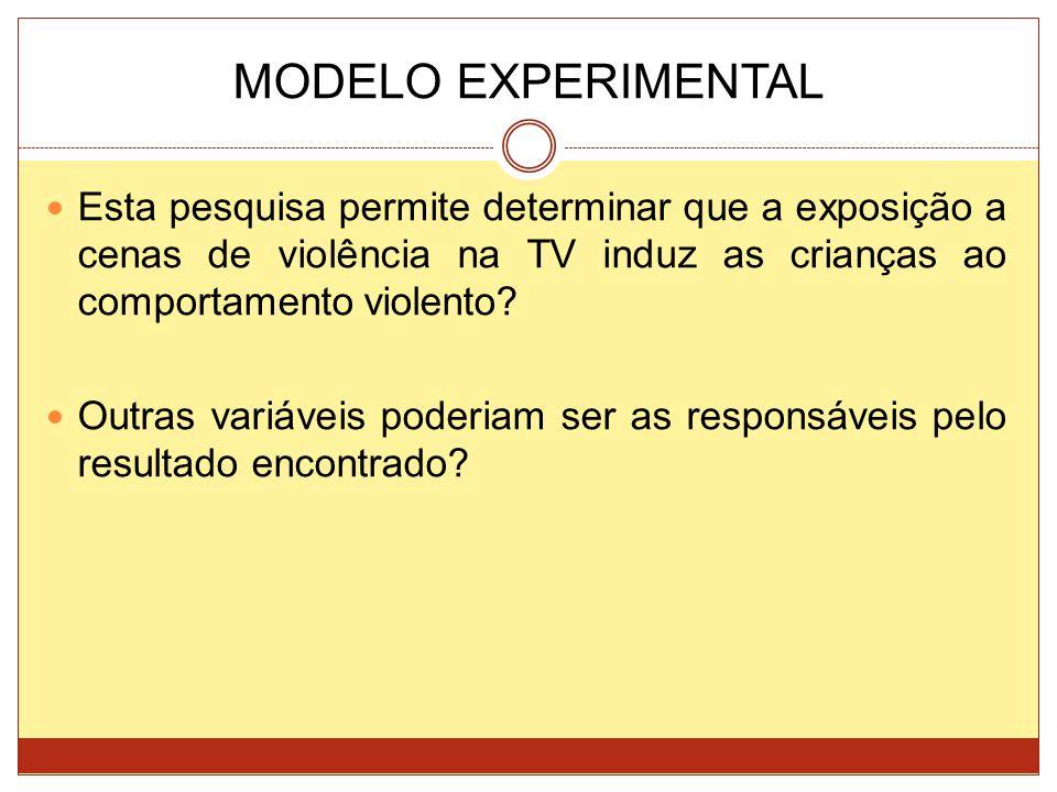 MODELO EXPERIMENTAL Esta pesquisa permite determinar que a exposição a cenas de violência na TV induz as crianças ao comportamento violento? Outras va