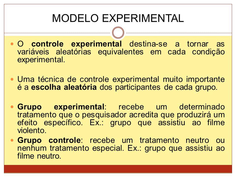MODELO EXPERIMENTAL O controle experimental destina-se a tornar as variáveis aleatórias equivalentes em cada condição experimental. Uma técnica de con