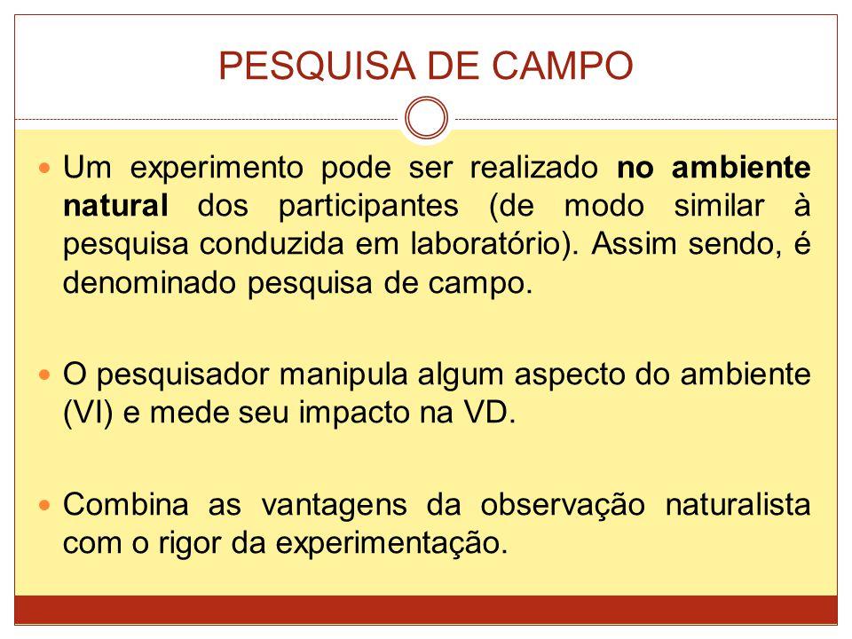 PESQUISA DE CAMPO Um experimento pode ser realizado no ambiente natural dos participantes (de modo similar à pesquisa conduzida em laboratório). Assim