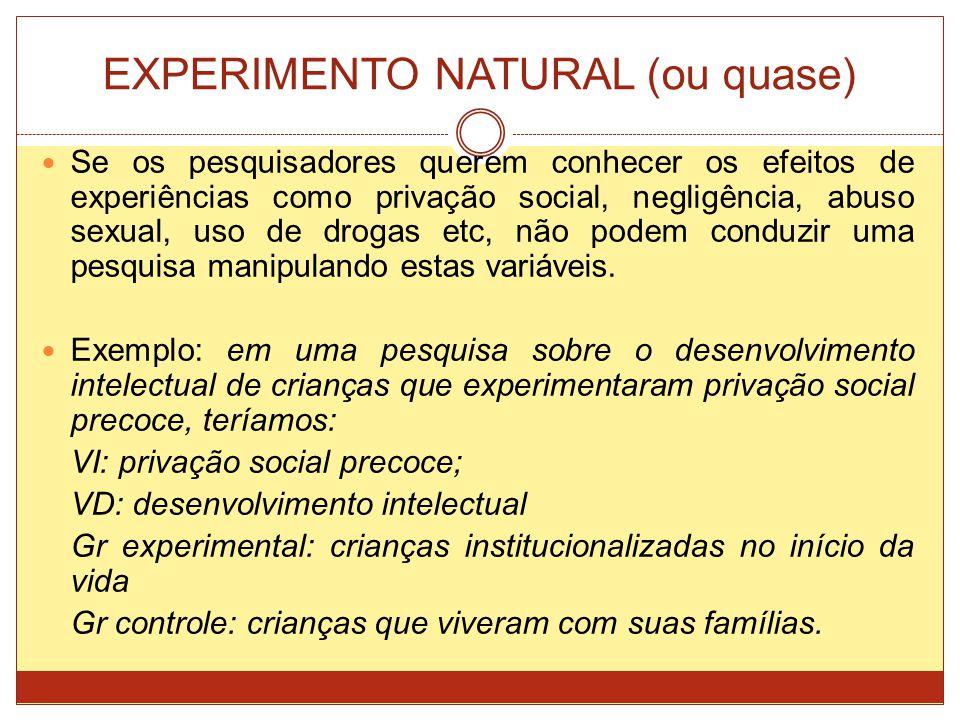 EXPERIMENTO NATURAL (ou quase) Se os pesquisadores querem conhecer os efeitos de experiências como privação social, negligência, abuso sexual, uso de