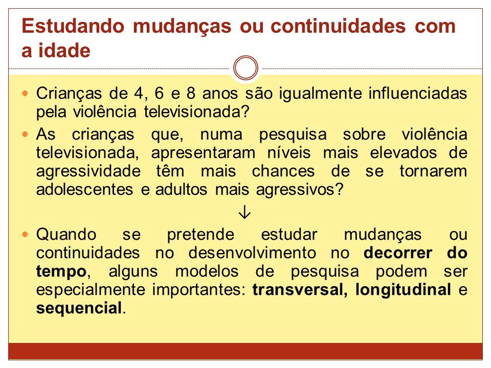 Estudando mudanças ou continuidades com a idade Crianças de 4, 6 e 8 anos são igualmente influenciadas pela violência televisionada.