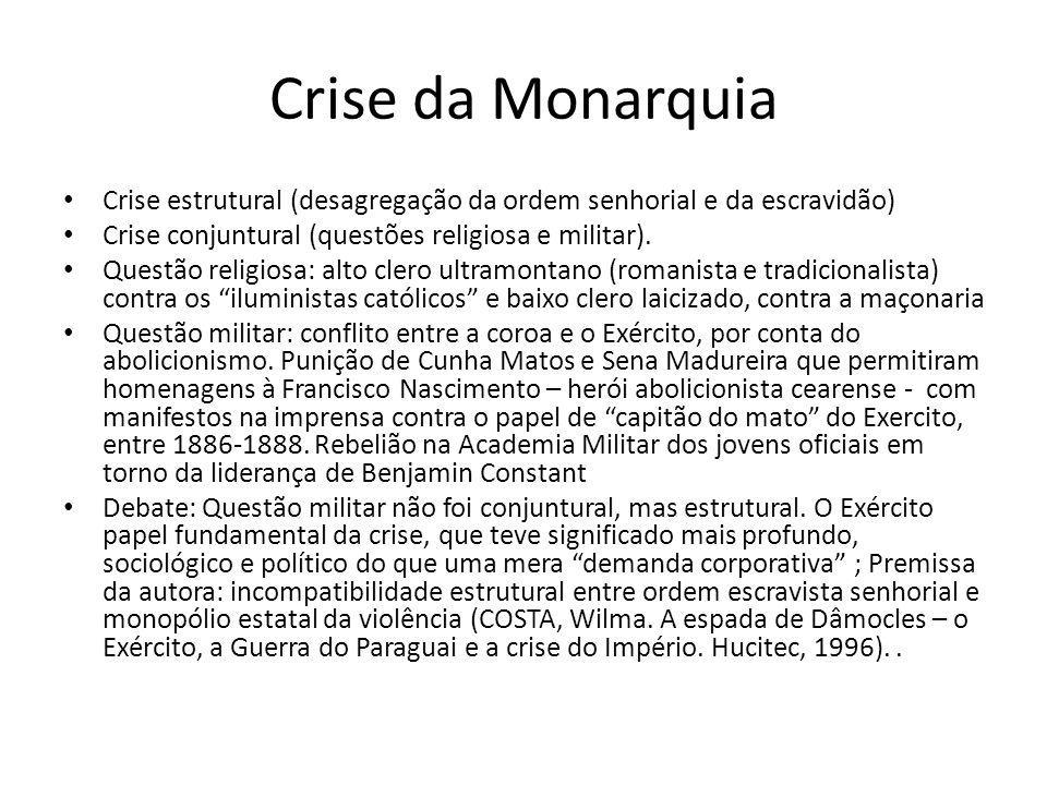 Crise da Monarquia Crise estrutural (desagregação da ordem senhorial e da escravidão) Crise conjuntural (questões religiosa e militar). Questão religi