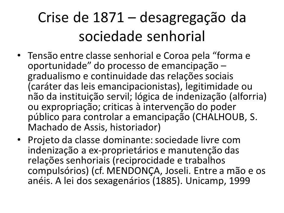 Crise de 1871 – desagregação da sociedade senhorial Tensão entre classe senhorial e Coroa pela forma e oportunidade do processo de emancipação – gradu