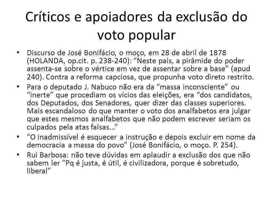 Críticos e apoiadores da exclusão do voto popular Discurso de José Bonifácio, o moço, em 28 de abril de 1878 (HOLANDA, op.cit. p. 238-240): Neste pais