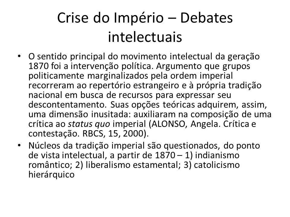 Crise do Império – Debates intelectuais O sentido principal do movimento intelectual da geração 1870 foi a intervenção política. Argumento que grupos
