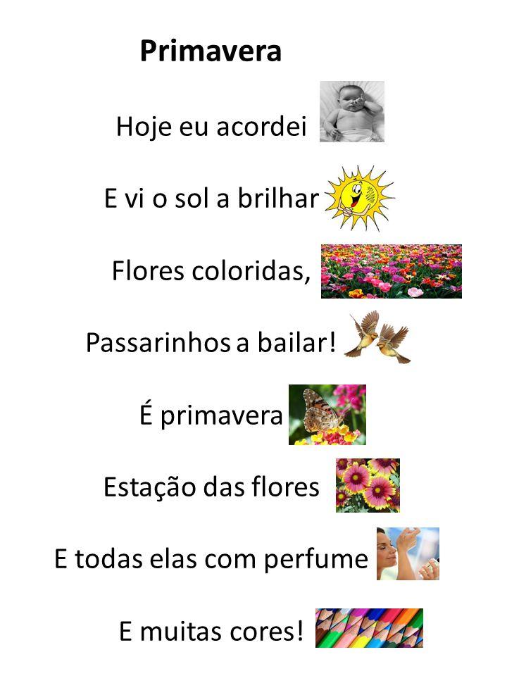 Primavera Hoje eu acordei E vi o sol a brilhar Flores coloridas, Passarinhos a bailar! É primavera Estação das flores E todas elas com perfume E muita