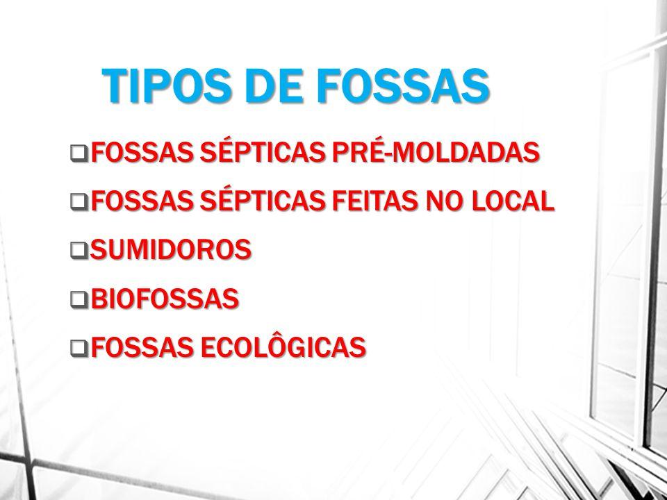 TIPOS DE FOSSAS FOSSAS SÉPTICAS PRÉ-MOLDADAS FOSSAS SÉPTICAS PRÉ-MOLDADAS FOSSAS SÉPTICAS FEITAS NO LOCAL FOSSAS SÉPTICAS FEITAS NO LOCAL SUMIDOROS SUMIDOROS BIOFOSSAS BIOFOSSAS FOSSAS ECOLÔGICAS FOSSAS ECOLÔGICAS