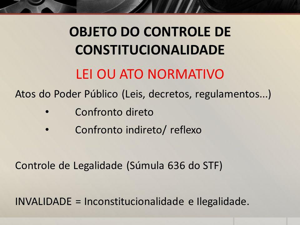 OBJETO DO CONTROLE DE CONSTITUCIONALIDADE LEI OU ATO NORMATIVO Atos do Poder Público (Leis, decretos, regulamentos...) Confronto direto Confronto indi