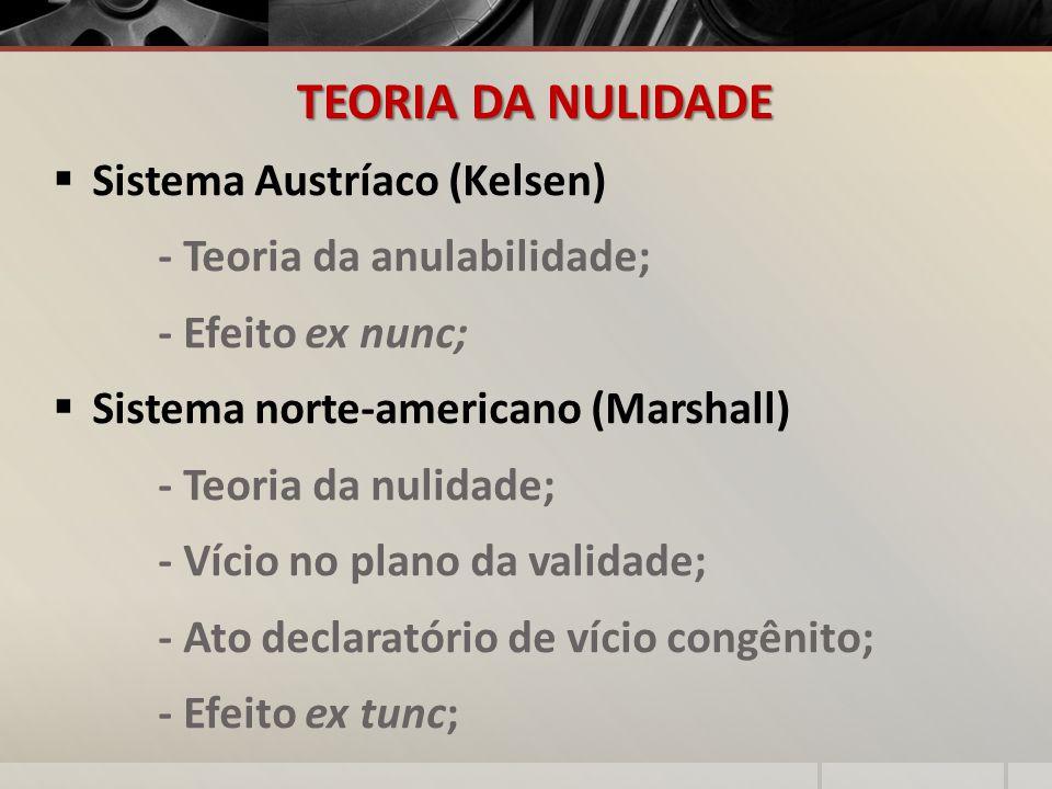TEORIA DA NULIDADE Sistema Austríaco (Kelsen) - Teoria da anulabilidade; - Efeito ex nunc; Sistema norte-americano (Marshall) - Teoria da nulidade; -