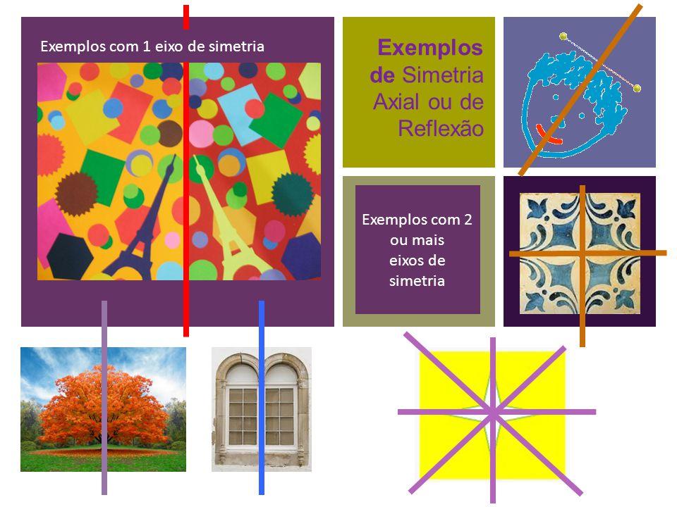 + Exemplos de Simetria Axial ou de Reflexão Exemplos com 1 eixo de simetria Exemplos com 2 ou mais eixos de simetria