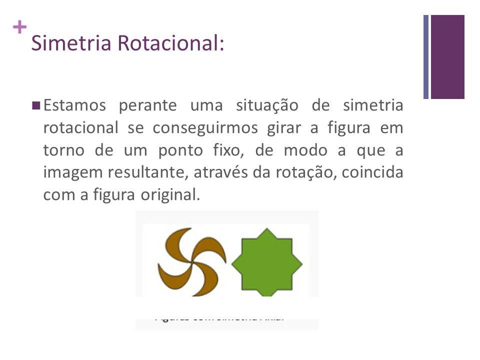 + Estamos perante uma situação de simetria rotacional se conseguirmos girar a figura em torno de um ponto fixo, de modo a que a imagem resultante, atr