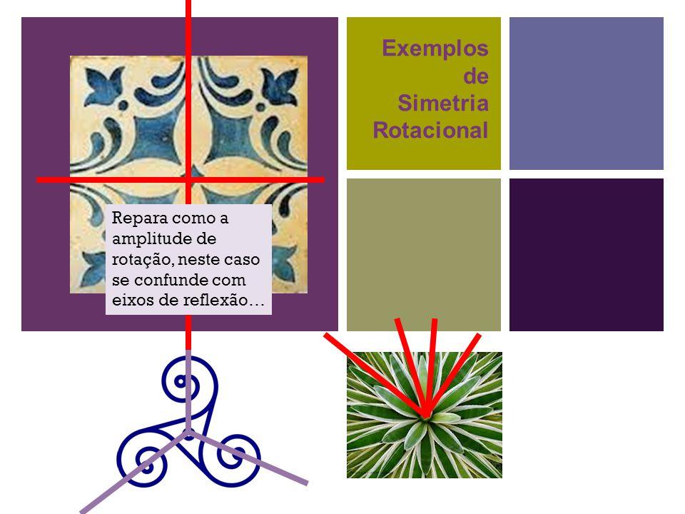 + Exemplos de Simetria Rotacional Repara como a amplitude de rotação, neste caso se confunde com eixos de reflexão…