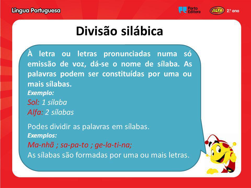 Divisão silábica À letra ou letras pronunciadas numa só emissão de voz, dá-se o nome de sílaba. As palavras podem ser constituídas por uma ou mais síl