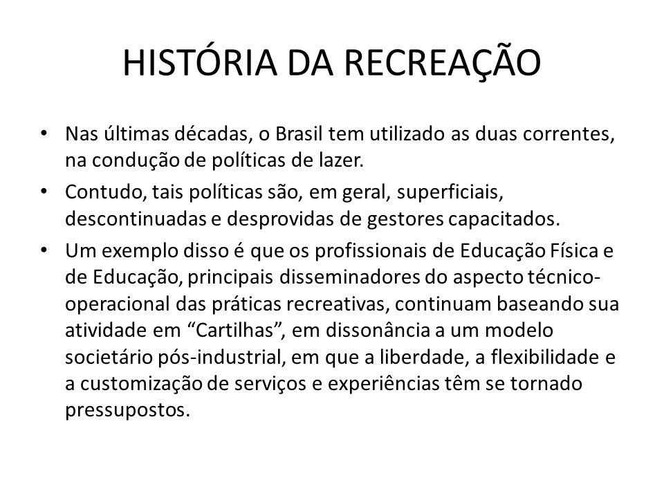 Nas últimas décadas, o Brasil tem utilizado as duas correntes, na condução de políticas de lazer. Contudo, tais políticas são, em geral, superficiais,