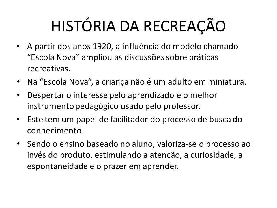 A partir dos anos 1920, a influência do modelo chamado Escola Nova ampliou as discussões sobre práticas recreativas. Na Escola Nova, a criança não é u