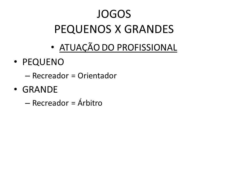 JOGOS PEQUENOS X GRANDES ATUAÇÃO DO PROFISSIONAL PEQUENO – Recreador = Orientador GRANDE – Recreador = Árbitro