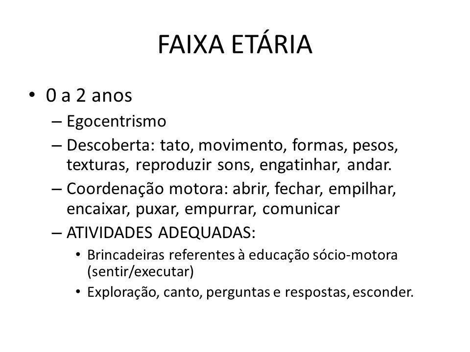 FAIXA ETÁRIA 0 a 2 anos – Egocentrismo – Descoberta: tato, movimento, formas, pesos, texturas, reproduzir sons, engatinhar, andar. – Coordenação motor
