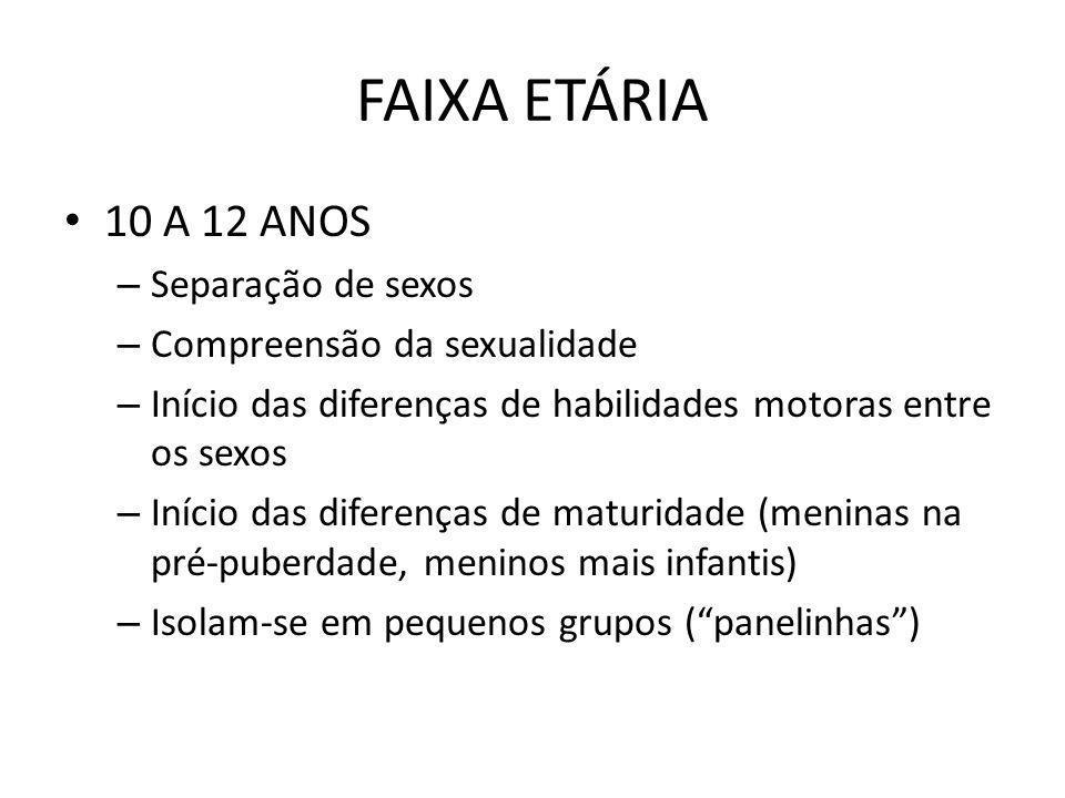 FAIXA ETÁRIA 10 A 12 ANOS – Separação de sexos – Compreensão da sexualidade – Início das diferenças de habilidades motoras entre os sexos – Início das