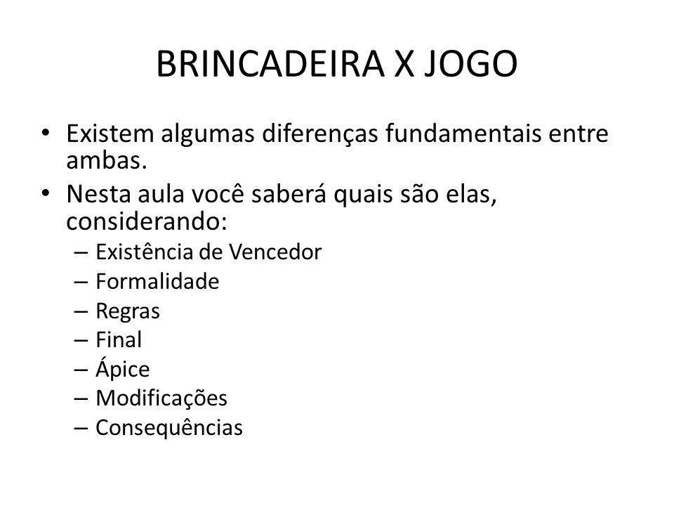BRINCADEIRA X JOGO EXISTÊNCIA DE VENCEDOR BRINCADEIRA – Não há como se vencer uma brincadeira.