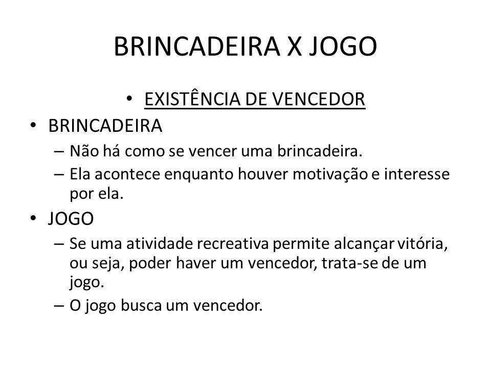 BRINCADEIRA X JOGO EXISTÊNCIA DE VENCEDOR BRINCADEIRA – Não há como se vencer uma brincadeira. – Ela acontece enquanto houver motivação e interesse po