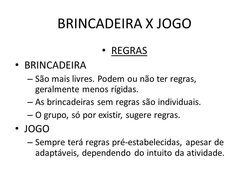 BRINCADEIRA X JOGO REGRAS BRINCADEIRA – São mais livres. Podem ou não ter regras, geralmente menos rígidas. – As brincadeiras sem regras são individua