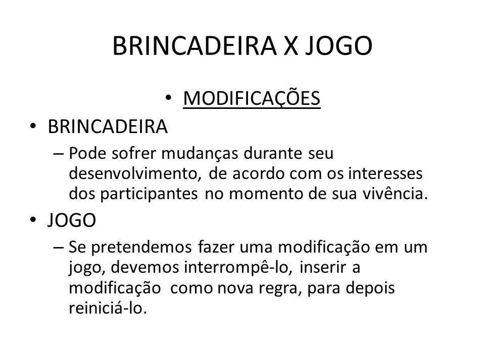 BRINCADEIRA X JOGO MODIFICAÇÕES BRINCADEIRA – Pode sofrer mudanças durante seu desenvolvimento, de acordo com os interesses dos participantes no momen