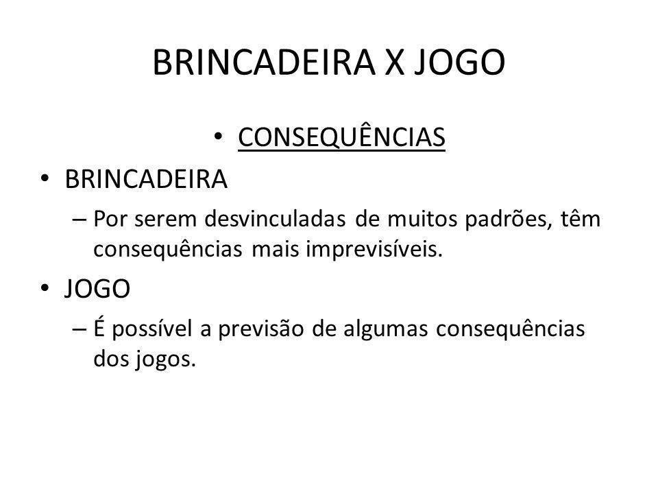 BRINCADEIRA X JOGO CONSEQUÊNCIAS BRINCADEIRA – Por serem desvinculadas de muitos padrões, têm consequências mais imprevisíveis. JOGO – É possível a pr