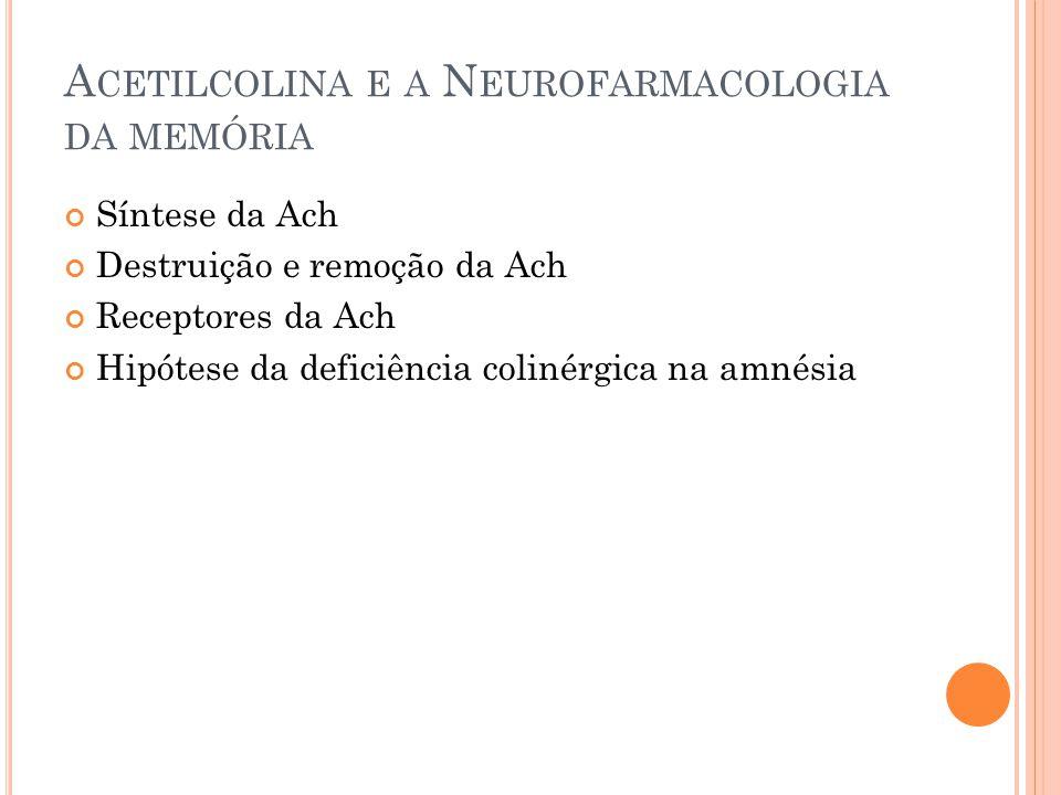 A CETILCOLINA E A N EUROFARMACOLOGIA DA MEMÓRIA Síntese da Ach Destruição e remoção da Ach Receptores da Ach Hipótese da deficiência colinérgica na amnésia