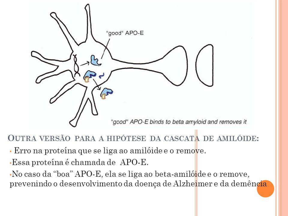 O UTRA VERSÃO PARA A HIPÓTESE DA CASCATA DE AMILÓIDE : Erro na proteína que se liga ao amilóide e o remove. Essa proteína é chamada de APO-E. No caso