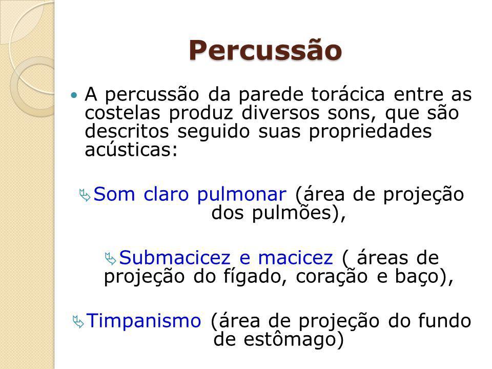 Percussão A percussão da parede torácica entre as costelas produz diversos sons, que são descritos seguido suas propriedades acústicas: Som claro pulm