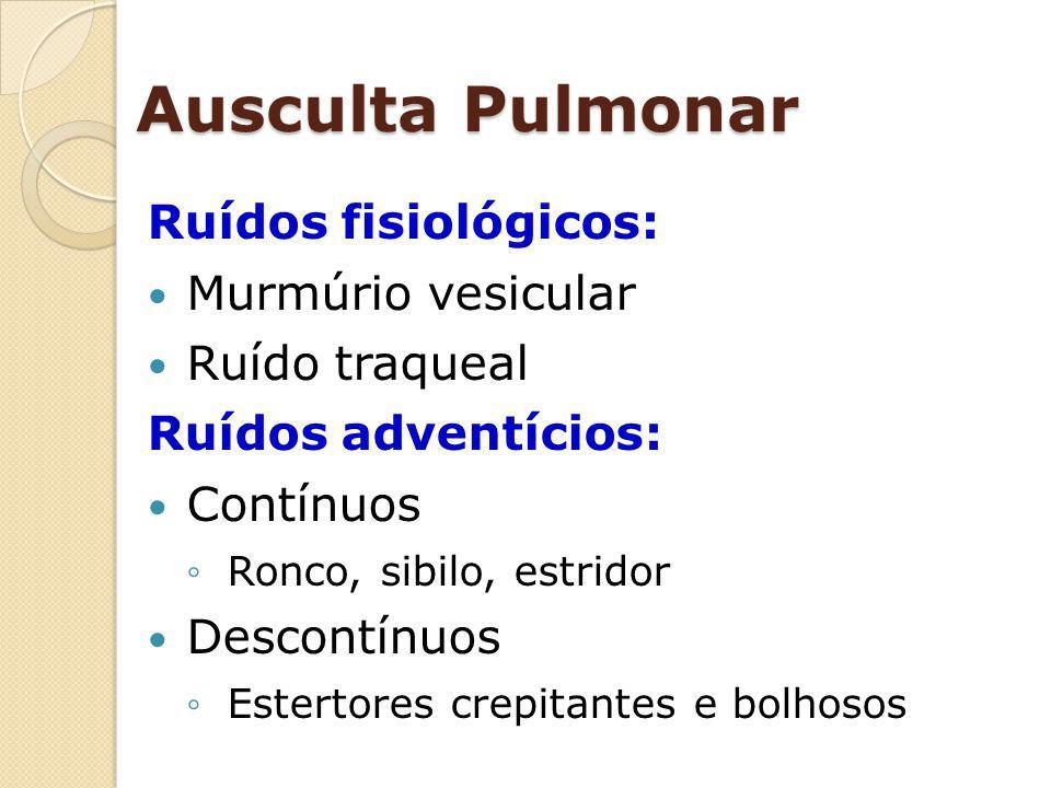 Ausculta Pulmonar Ruídos fisiológicos: Murmúrio vesicular Ruído traqueal Ruídos adventícios: Contínuos Ronco, sibilo, estridor Descontínuos Estertores