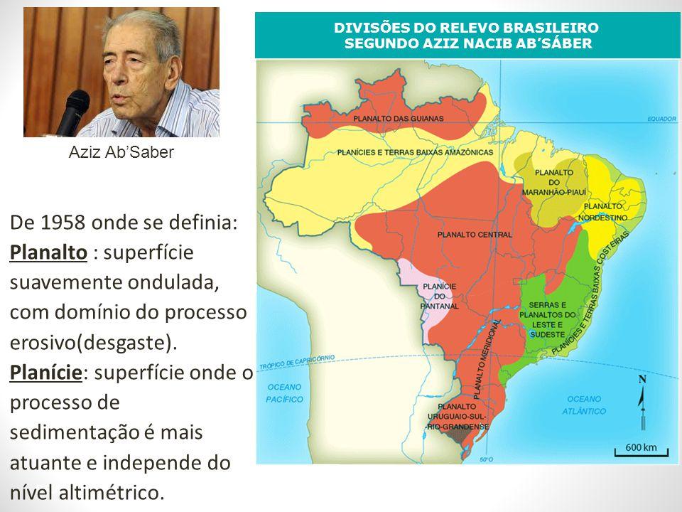 BRASIL: RELEVO DIVISÕES DO RELEVO BRASILEIRO SEGUNDO AZIZ NACIB ABSÁBER De 1958 onde se definia: Planalto : superfície suavemente ondulada, com domíni