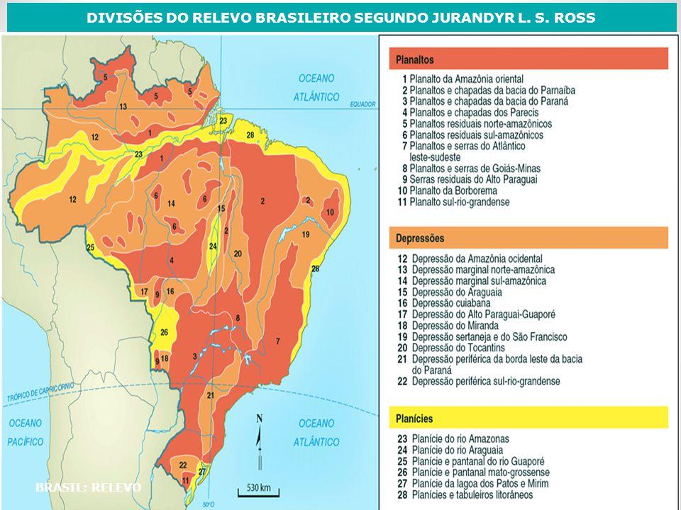 BRASIL: RELEVO DIVISÕES DO RELEVO BRASILEIRO SEGUNDO JURANDYR L. S. ROSS