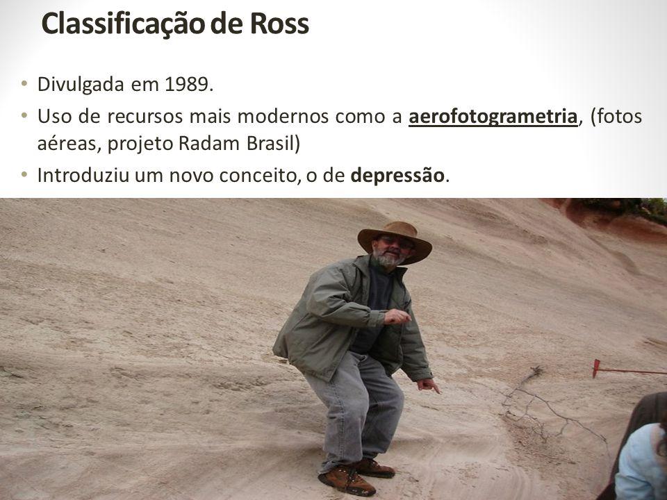 Classificação de Ross Divulgada em 1989. Uso de recursos mais modernos como a aerofotogrametria, (fotos aéreas, projeto Radam Brasil) Introduziu um no