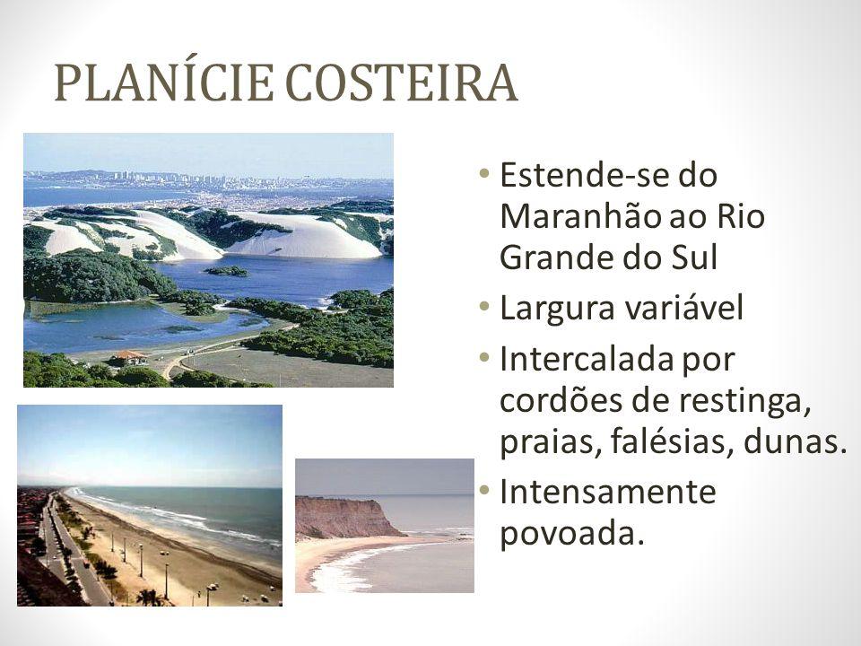 PLANÍCIE COSTEIRA Estende-se do Maranhão ao Rio Grande do Sul Largura variável Intercalada por cordões de restinga, praias, falésias, dunas. Intensame