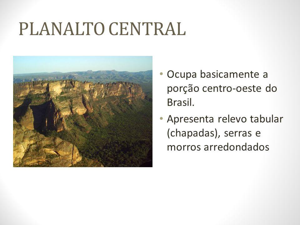 PLANALTO CENTRAL Ocupa basicamente a porção centro-oeste do Brasil. Apresenta relevo tabular (chapadas), serras e morros arredondados