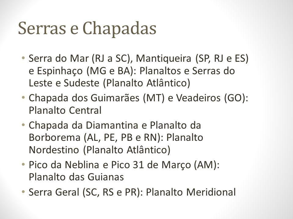 Serras e Chapadas Serra do Mar (RJ a SC), Mantiqueira (SP, RJ e ES) e Espinhaço (MG e BA): Planaltos e Serras do Leste e Sudeste (Planalto Atlântico)