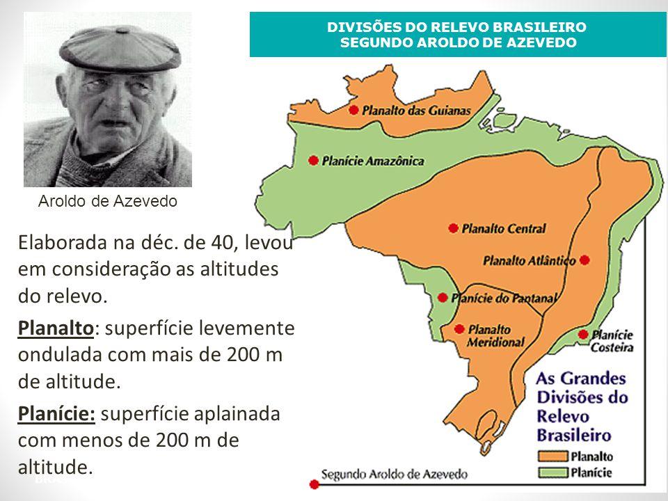 BRASIL: RELEVO DIVISÕES DO RELEVO BRASILEIRO SEGUNDO AROLDO DE AZEVEDO Aroldo de Azevedo Elaborada na déc. de 40, levou em consideração as altitudes d