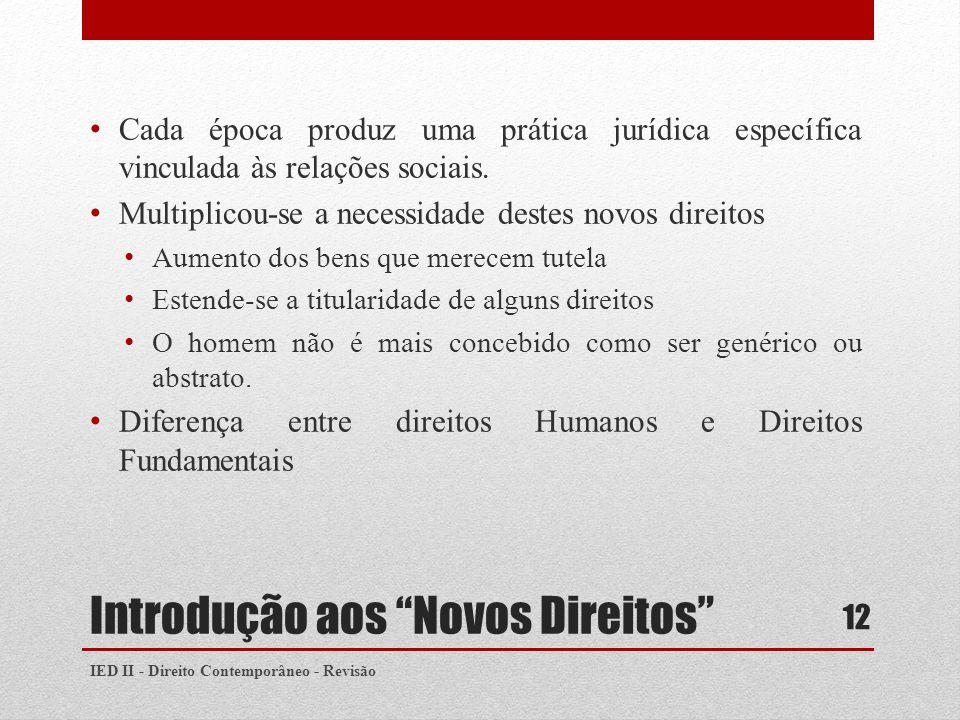 Introdução aos Novos Direitos Cada época produz uma prática jurídica específica vinculada às relações sociais.
