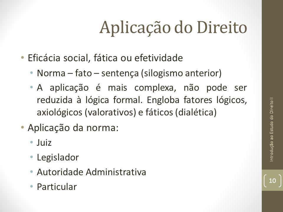 Aplicação do Direito Eficácia social, fática ou efetividade Norma – fato – sentença (silogismo anterior) A aplicação é mais complexa, não pode ser red