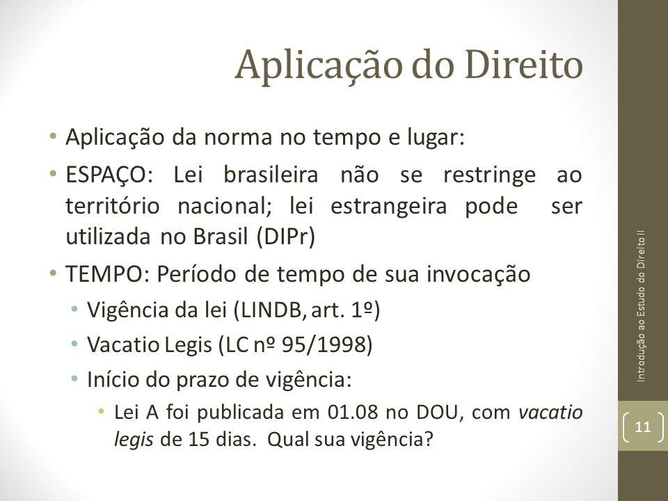 Aplicação do Direito Aplicação da norma no tempo e lugar: ESPAÇO: Lei brasileira não se restringe ao território nacional; lei estrangeira pode ser uti