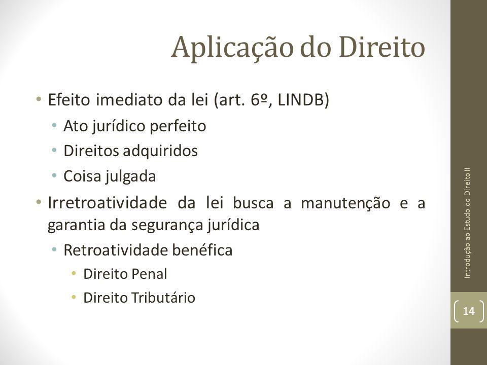 Aplicação do Direito Efeito imediato da lei (art. 6º, LINDB) Ato jurídico perfeito Direitos adquiridos Coisa julgada Irretroatividade da lei busca a m
